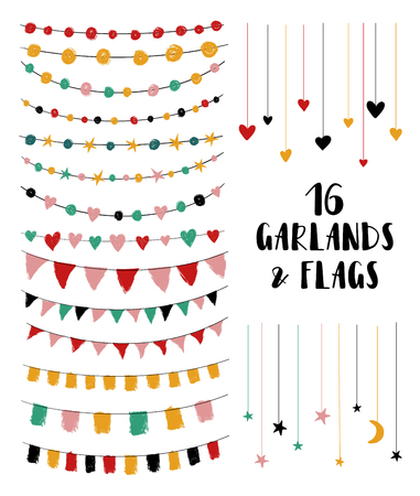 Illustration pour Set of cute brush made party garlands and flags. Perfect for wedding invitations, baby shower, birthday or any greeting cards. Isolated design elements. - image libre de droit