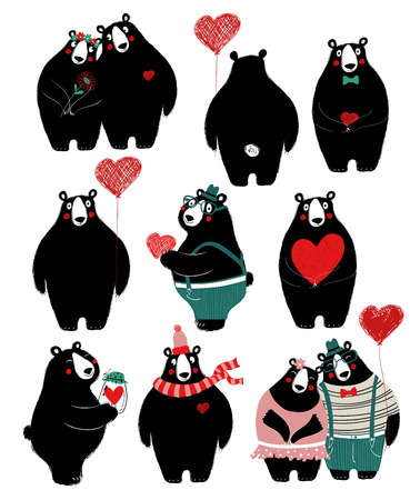 Illustration pour Love set with cute single black bear and couple. Perfect for Valentine's day greeting cards, wedding invitation or just some love message. - image libre de droit