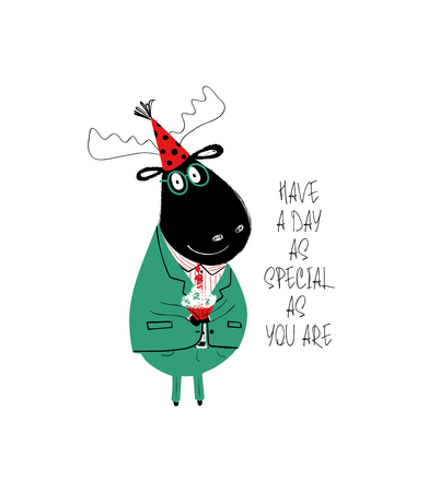 Illustration pour Funny black moose in suit holding birthday cupcake. Birthday greeting card with phrase: have a day as special as you are. - image libre de droit