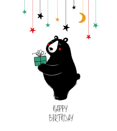 Illustration pour Birthday greeting card with cute black laughing bear holding a gift. - image libre de droit