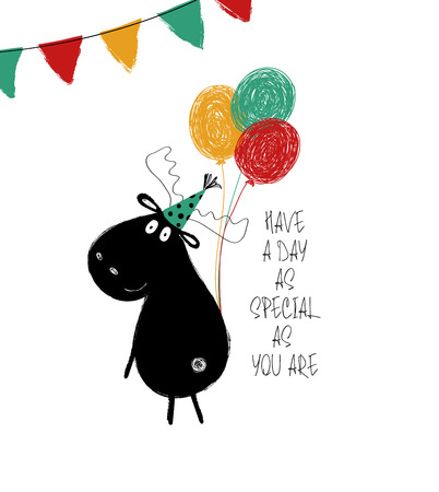 Illustration pour Funny black moose with bunch of balloons. Birthday greeting card with phrase: have a day as special as you are. - image libre de droit