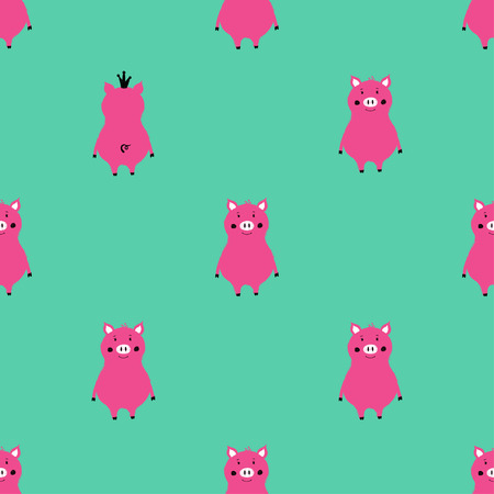 Illustration for Bright seamless pattern with cute pink pigs. Funny background for nursery or any textile surface. - Royalty Free Image