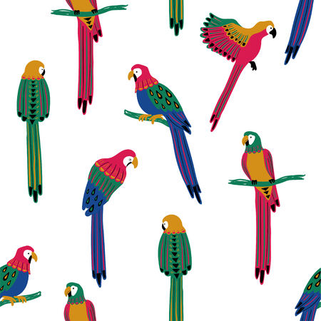Ilustración de Wildlife birds print. Seamless pattern with colorful parrots on a white background. - Imagen libre de derechos