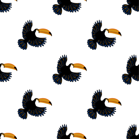 Ilustración de Wildlife birds print. Seamless pattern with flying toucan on a white background. - Imagen libre de derechos