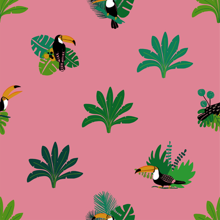 Ilustración de Summer wildlife birds print. Seamless pattern with toucan and jungle plants. - Imagen libre de derechos