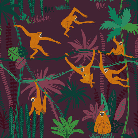 Illustration for Colorful wildlife animals print. Seamless pattern with funny yellow gibbon monkey in wild jungle forest. - Royalty Free Image