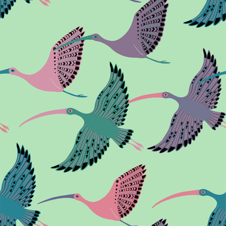 Ilustración de Colorful wildlife birds print. Seamless pattern with flying ibis. - Imagen libre de derechos