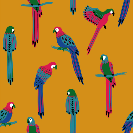 Illustration for Wildlife birds print. Seamless pattern with colorful parrots on a yellow background. - Royalty Free Image