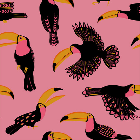 Ilustración de Summer wildlife birds print. Seamless pattern with funny toucans on a white background. - Imagen libre de derechos