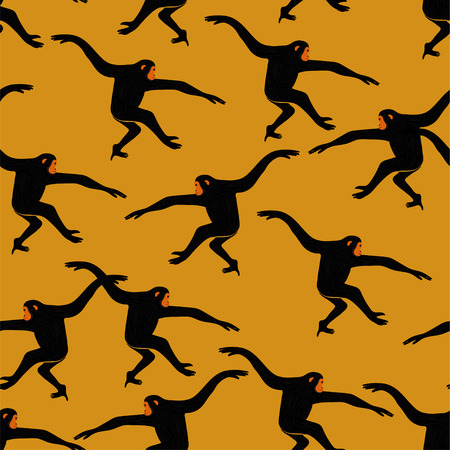 Ilustración de Animals print. Seamless pattern with funny gibbon monkey silhouette on an yellow background. - Imagen libre de derechos