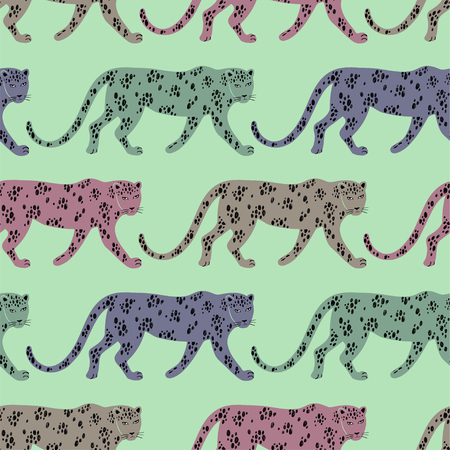 Illustration for Colorful wildlife animals print. Seamless pattern with walking leopard. - Royalty Free Image