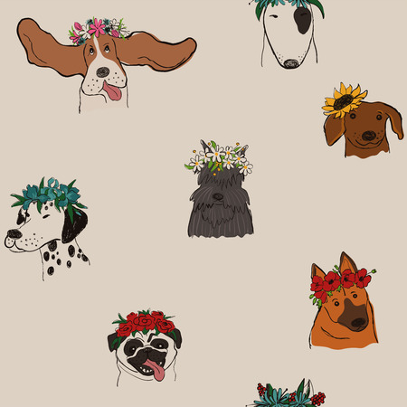 Illustration for Seamless pattern with cute dogs in floral wreaths. Funny doggy faces background, wallpaper or print. - Royalty Free Image