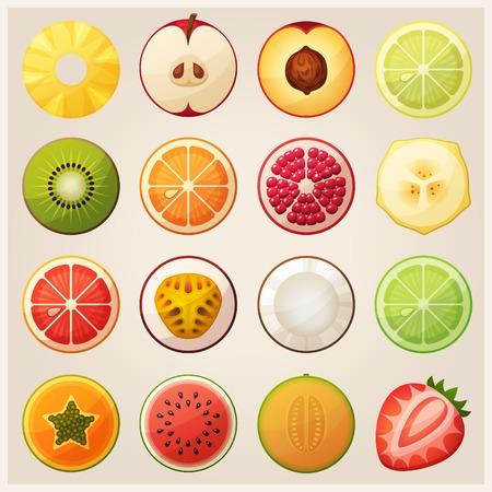 Illustration pour Set of fruit halves. Vector icons. - image libre de droit