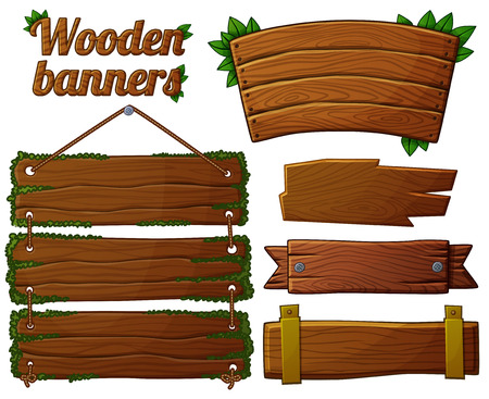 Illustration pour Set of dark wooden banners 2. Cartoon vector illustration. - image libre de droit