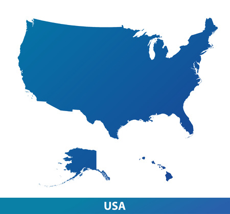 Illustration pour Map of USA. Silhouette isolated on a white background. - image libre de droit