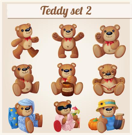 Illustration pour Teddy bears set. Part 2. Cartoon vector illustration - image libre de droit