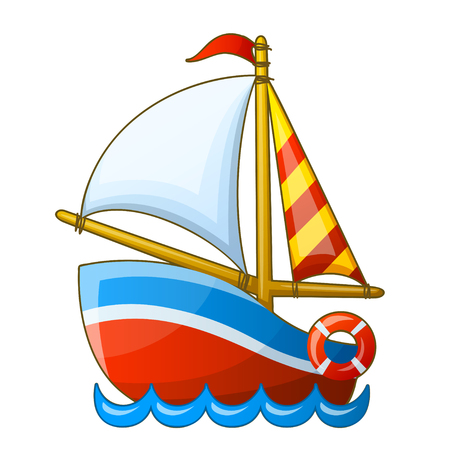 Ilustración de Sailing vessel isolated on white background. Cartoon vector illustration. - Imagen libre de derechos