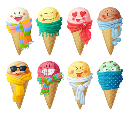 Illustration pour Set of cartoon vector icons isolated on white background. Ice cream scoops characters. Funny faces with scarf, smiling - image libre de droit
