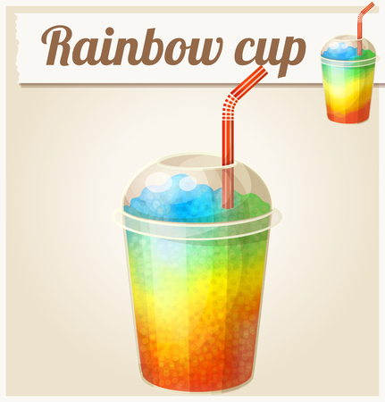 Illustration pour Rainbow ice cup (Frozen drink). Cartoon vector icon. Series of food and ingredients for cooking. - image libre de droit