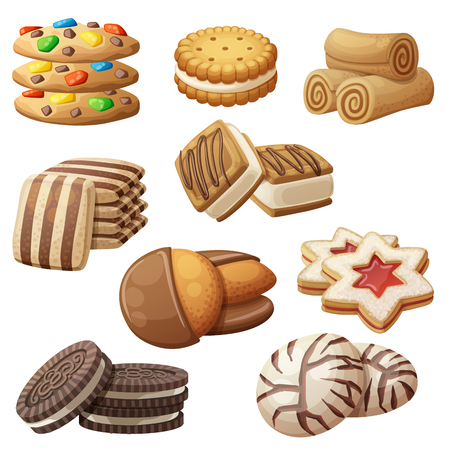 Illustration pour Set of delicious cookies. Cartoon vector illustration. Food sweet icons isolated on white background - image libre de droit