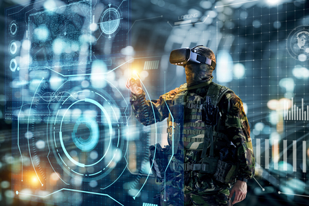 Photo pour Soldier in glasses of virtual reality.  Military concept of the future. - image libre de droit