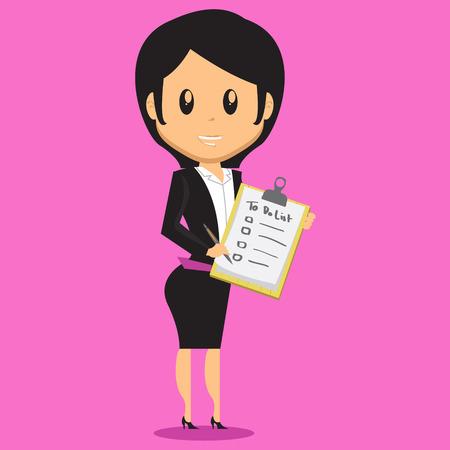 Ilustración de Cartoon Office Woman Character bring a note that contain her to do list - Imagen libre de derechos