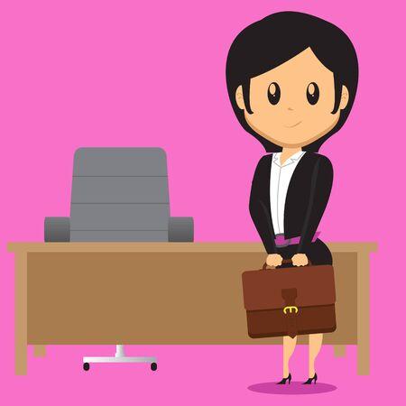 Ilustración de A cartoon Office Lady Character standing in front of her Work Desk in office holding her Bag - Imagen libre de derechos