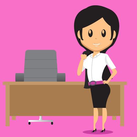 Ilustración de Cartoon Office Woman Character standing infront of her desk, She take off her Blazer because it - Imagen libre de derechos
