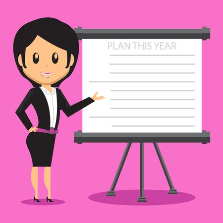Ilustración de Cartoon Office Woman Character presenting her company plan to achieve success on Sales or Project - Imagen libre de derechos