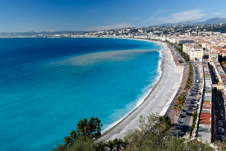Photo for Promenade des Anglais and Beautiful Beach in Nice, French Riviera, France - Royalty Free Image