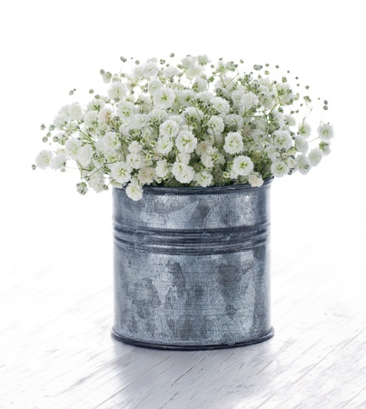 Foto für Bouquet of white gypsophila, baby's breath flowers, on wooden background - Lizenzfreies Bild