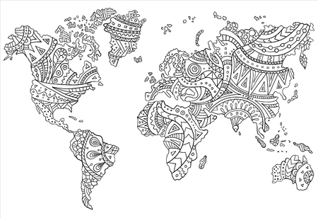 Ilustración de Ethnic pattern on the world map. Vector doodle continents drawn by hand. Template for coloring the page. - Imagen libre de derechos