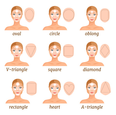 Illustration pour An example of contouring a face of various shapes. Makeup tips. How to contour and highlight different types of faces. Vector illustration. - image libre de droit