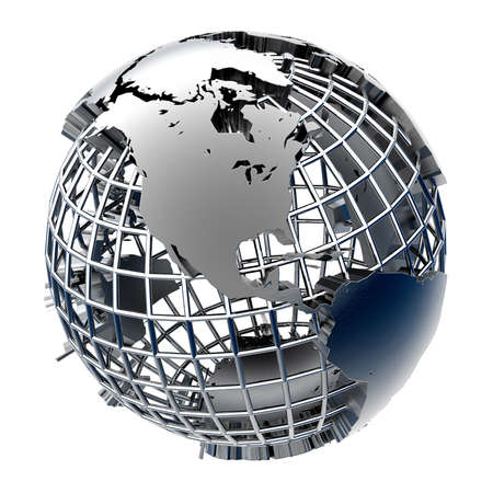 Metal Globe relief mainland on chrome grid of meridians and parallels