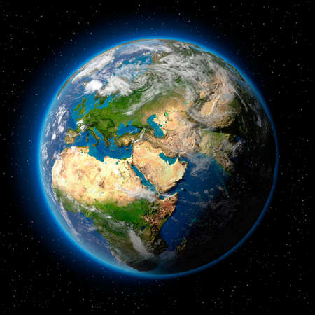 Planet earth with translucent water of the oceans, atmosphere, volumetric clouds, and detailed topography in outer space