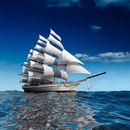 Photo pour Sailing ship in the vast ocean with small waves is getting all the sails filled with sea breeze - image libre de droit