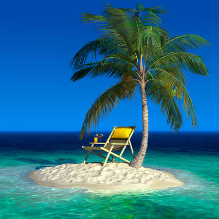 Photo for Realistic recreation concept under a palm tree on a small uninhabited tropical island - Royalty Free Image