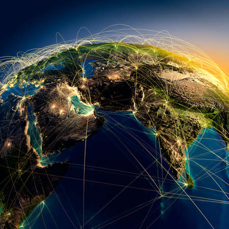 Photo pour Highly detailed planet Earth at night with embossed continents, illuminated by light of cities, translucent and reflective ocean  Earth is surrounded by a luminous network, representing the major air routes based on real data - image libre de droit