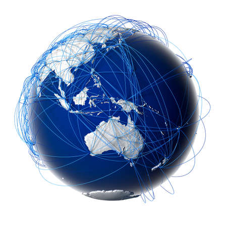 Earth with relief stylized continents surrounded by a wired network