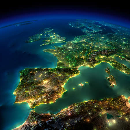 Photo pour Highly detailed Earth, illuminated by moonlight. The glow of cities sheds light on the detailed exaggerated terrain and translucent water of the oceans. Elements of this image furnished by NASA - image libre de droit