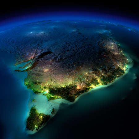 Photo for Highly detailed Earth, illuminated by moonlight. The glow of cities sheds light on the detailed exaggerated terrain and translucent water of the oceans. Elements of this image furnished by NASA - Royalty Free Image