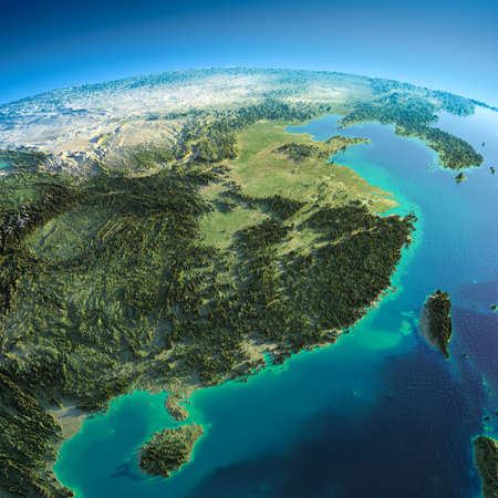 Photo for Highly detailed planet Earth in the morning  Exaggerated precise relief lit morning sun  Eastern China and Taiwan   - Royalty Free Image