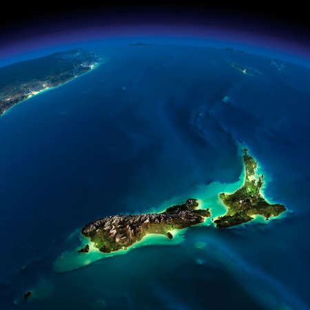 Photo pour Highly detailed Earth, illuminated by moonlight  The glow of cities sheds light on the detailed exaggerated terrain  Night Earth  Pacific - New Zealand   - image libre de droit