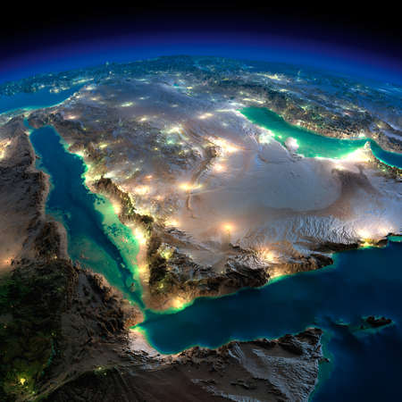 Photo pour Highly detailed Earth, illuminated by moonlight  The glow of cities sheds light on the detailed exaggerated terrain  Night Earth  Saudi Arabia   - image libre de droit