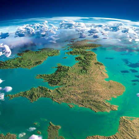 Photo pour Highly detailed fragments of the planet Earth with exaggerated relief, translucent ocean and clouds, illuminated by the morning sun  United Kingdom and Ireland   - image libre de droit