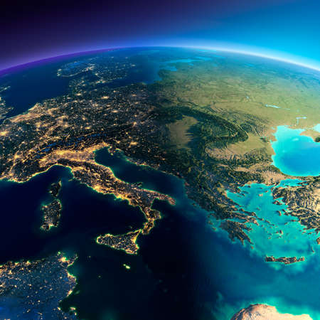 Foto de Highly detailed planet Earth. Night with glowing lights of the city gives way to day. The boundary of the night & day. Italy, Greece and the Mediterranean Sea. Elements of this image furnished by NASA - Imagen libre de derechos