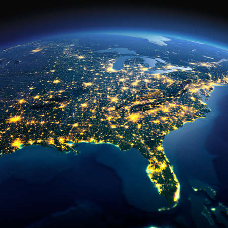 Photo pour Night planet Earth with precise detailed relief and city lights illuminated by moonlight. North America. USA. Gulf of Mexico and Florida. Elements of this image furnished by NASA - image libre de droit