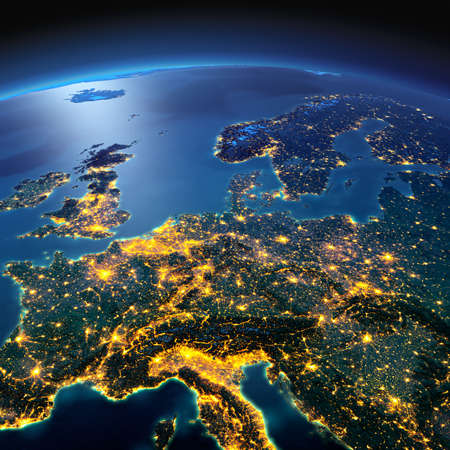 Foto de Night planet Earth with precise detailed relief and city lights illuminated by moonlight. Central Europe. Elements of this image furnished by NASA - Imagen libre de derechos