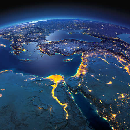 Photo for Night planet Earth with precise detailed relief and city lights illuminated by moonlight. Africa and Middle East. Elements of this image furnished by NASA - Royalty Free Image