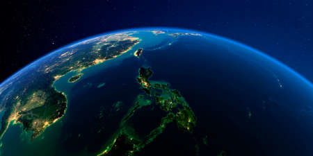 Foto de Planet Earth with detailed exaggerated relief at night lit by the lights of cities. Earth. Southeast Asia. Philippines. - Imagen libre de derechos